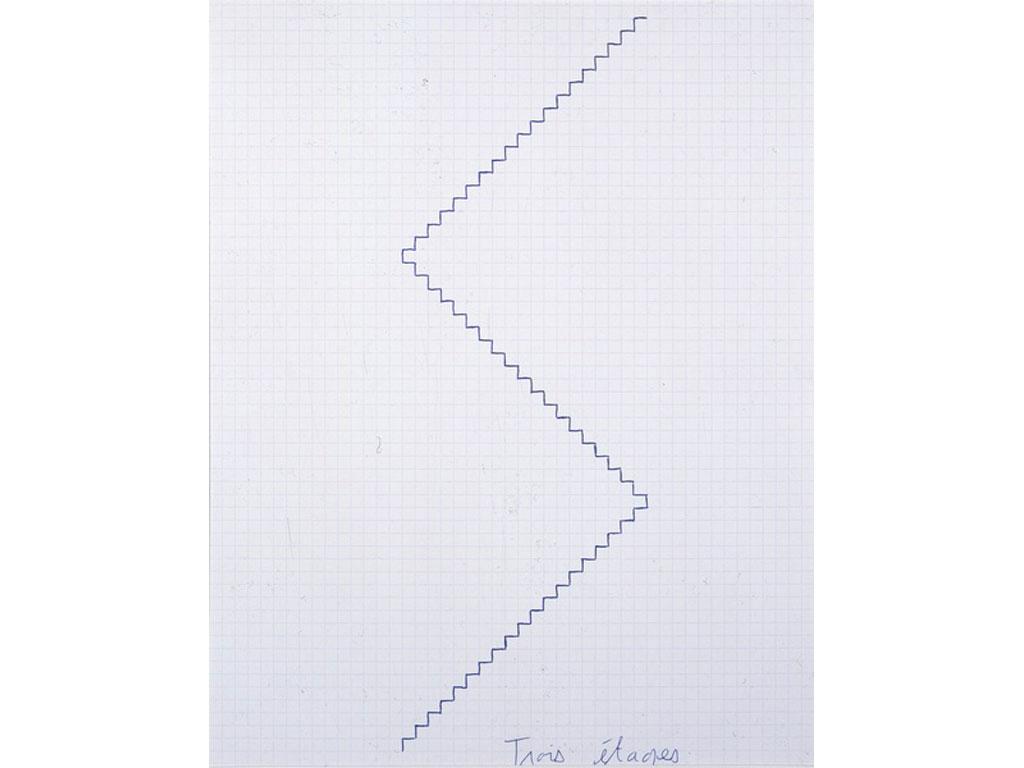 Claude Closky, 'Trois étages [three floors]', 1991, blue ballpoint pen on grid paper, 30 x 24 cm.