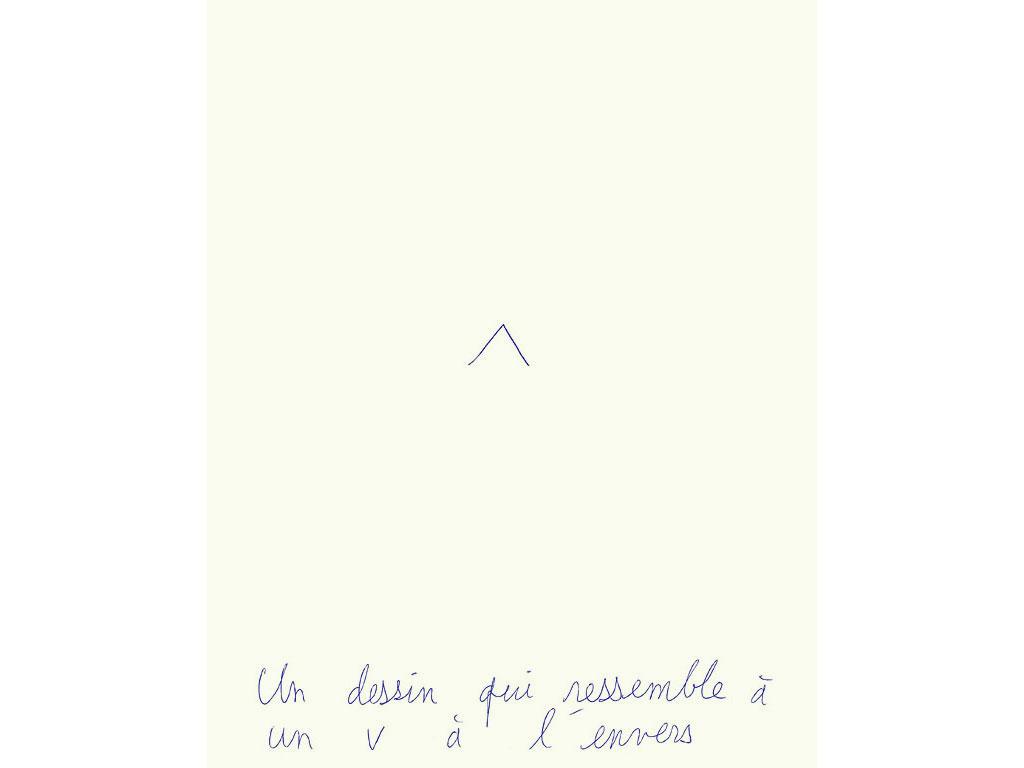 Claude Closky, 'Un dessin qui ressemble à un V à l'envers [a drawing that resembles an upside-down V]', 1994, ballpoint pen on paper, 30 x 24 cm.