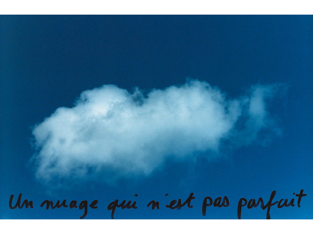 Claude Closky, 'Un nuage qui n'est pas parfait [A cloud that isn't perfect],' 1995, c-print, permanent felt pen, 15,2 x 22,5 cm.