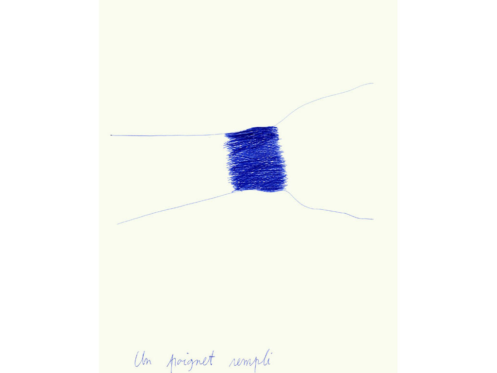 Claude Closky, 'Un poignet rempli [A filled wirst]', 1990, blue ballpoint pen on paper, 30 x 24 cm.