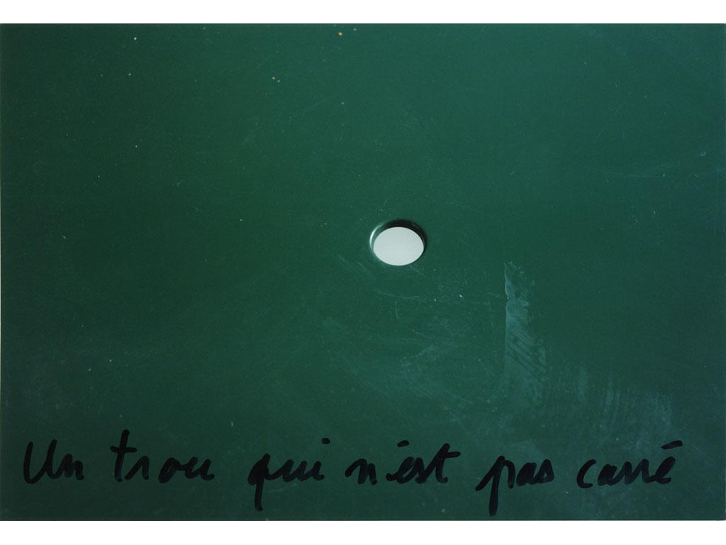 Claude Closky, 'Un trou qui n'est pas carré [A hole which is not square],' 1995, c-print, permanent felt pen, 15,2 x 22,5 cm.