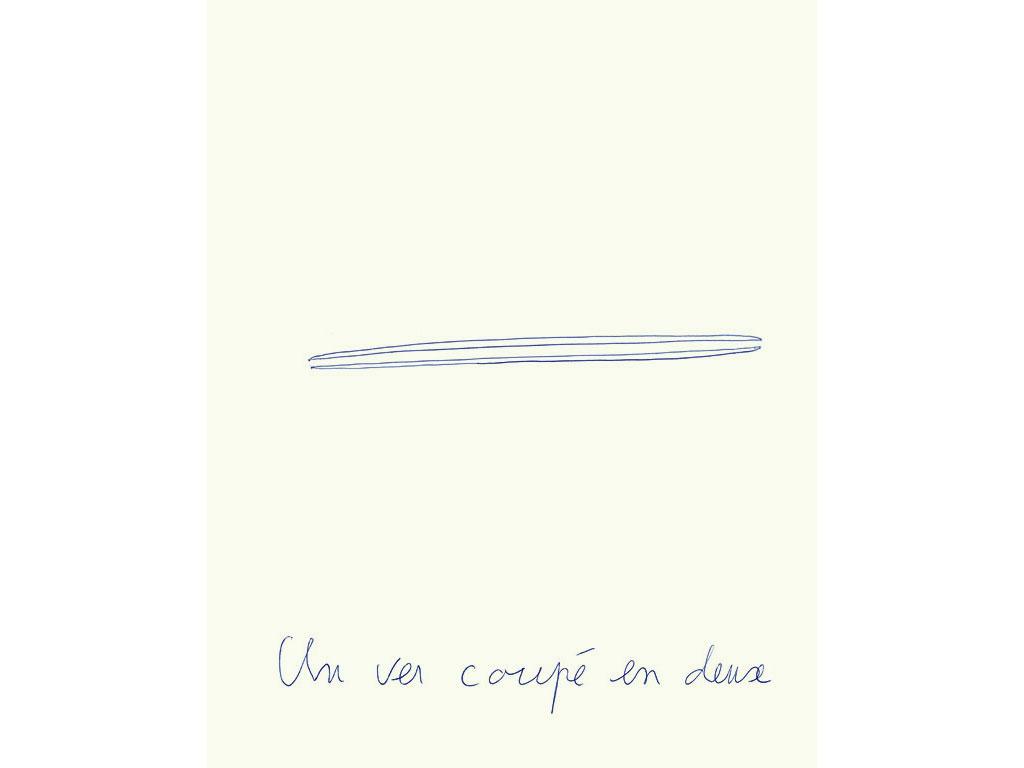 Claude Closky, 'Un ver coupé en deux [Worm cut in two]', 1996, blue ballpoint pen on paper, 30 x 24 cm.