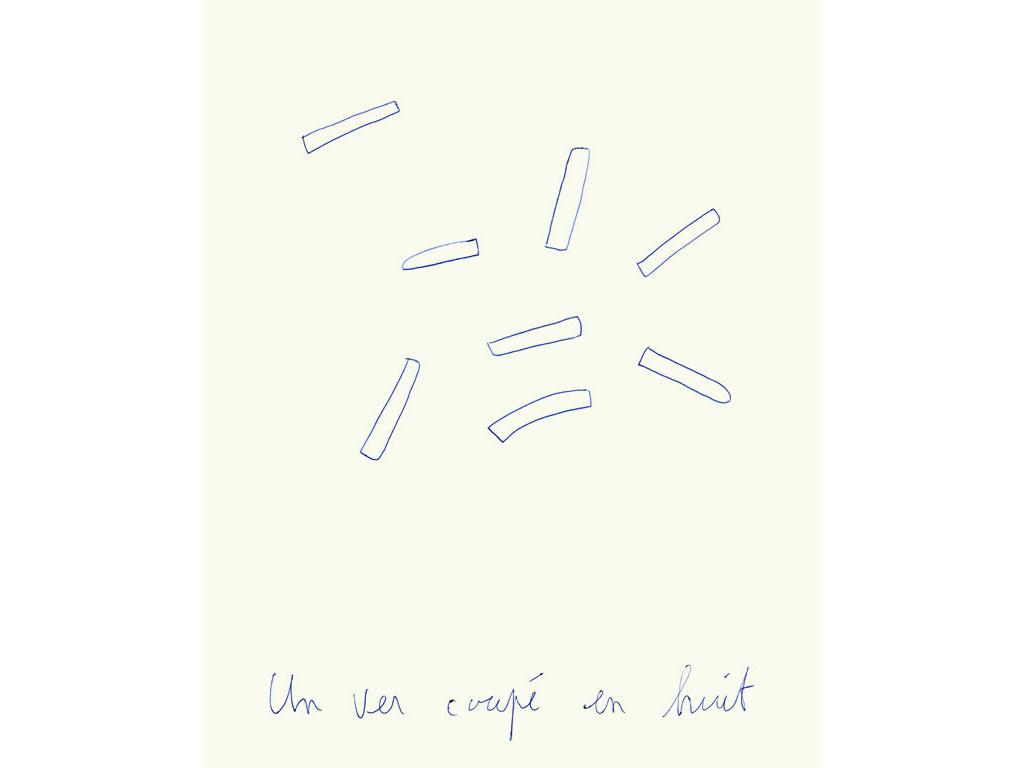 Claude Closky, 'Un ver coupé en huit [Worm cut in eight]', 1996, blue ballpoint pen on paper, 30 x 24 cm.