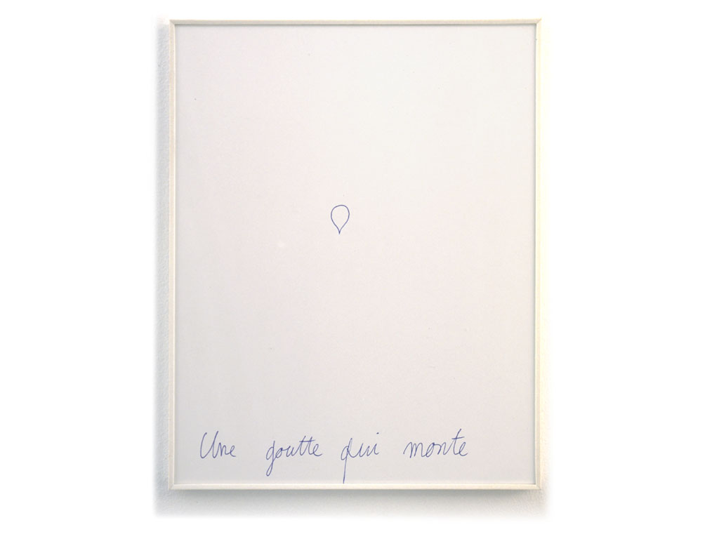 Claude Closky, 'Une goutte qui monte [a drop going up]', 1994, ballpoint pen on paper, 30 x 24 cm.