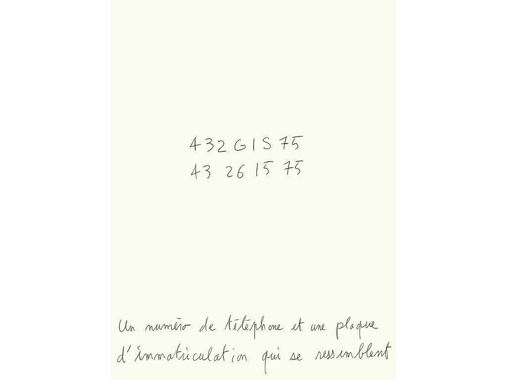 Claude Closky, Un numéro de téléphone et une plaque d'imatriculation qui se ressemblent, 1991