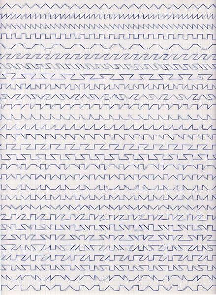 Claude Closky, 'Untitled (1,500 friezes), 1', 1992, blue ballpoint pen on grid paper, 30 x 24 cm.
