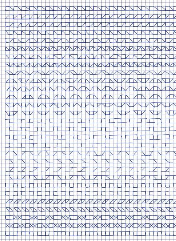 Claude Closky, 'Untitled (1,500 friezes), 5', 1992, blue ballpoint pen on grid paper, 30 x 24 cm.