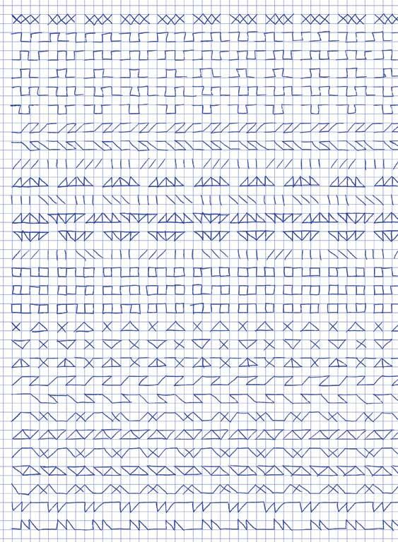 Claude Closky, 'Untitled (1,500 friezes), 6', 1992, blue ballpoint pen on grid paper, 30 x 24 cm.