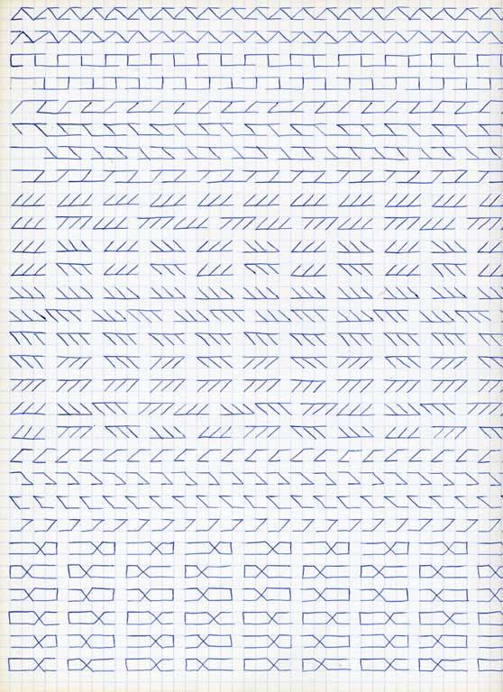 Claude Closky, 'Untitled (1,500 friezes), 7', 1992, blue ballpoint pen on grid paper, 30 x 24 cm.