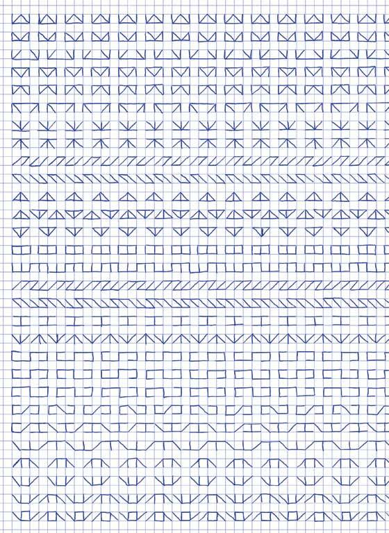 Claude Closky, 'Untitled (1,500 friezes), 8', 1992, blue ballpoint pen on grid paper, 30 x 24 cm.