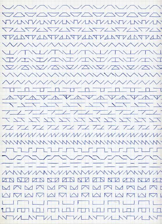Claude Closky, 'Untitled (1,500 friezes), 9', 1992, blue ballpoint pen on grid paper, 30 x 24 cm.