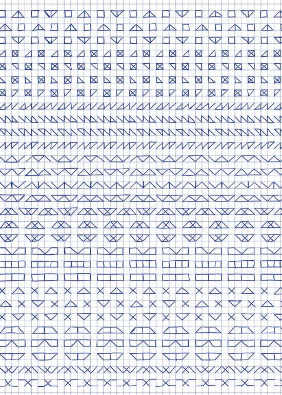 Claude Closky, 'Untitled (1,500 friezes), 14', 1992, blue ballpoint pen on grid paper, 30 x 24 cm.