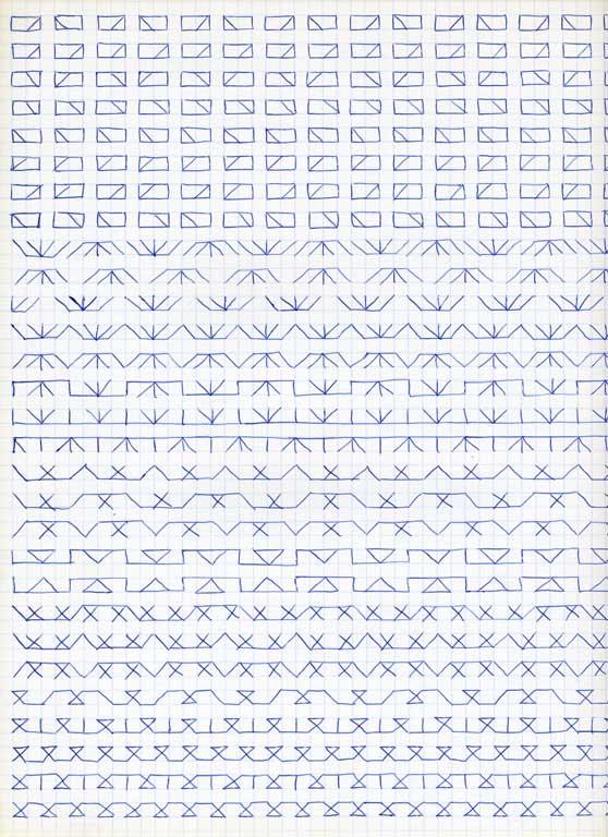 Claude Closky, 'Untitled (1,500 friezes), 15', 1992, blue ballpoint pen on grid paper, 30 x 24 cm.