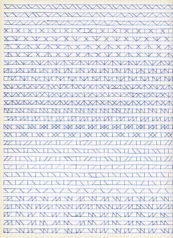 Claude Closky, 'Untitled (1,500 friezes), 18', 1992, blue ballpoint pen on grid paper, 30 x 24 cm.