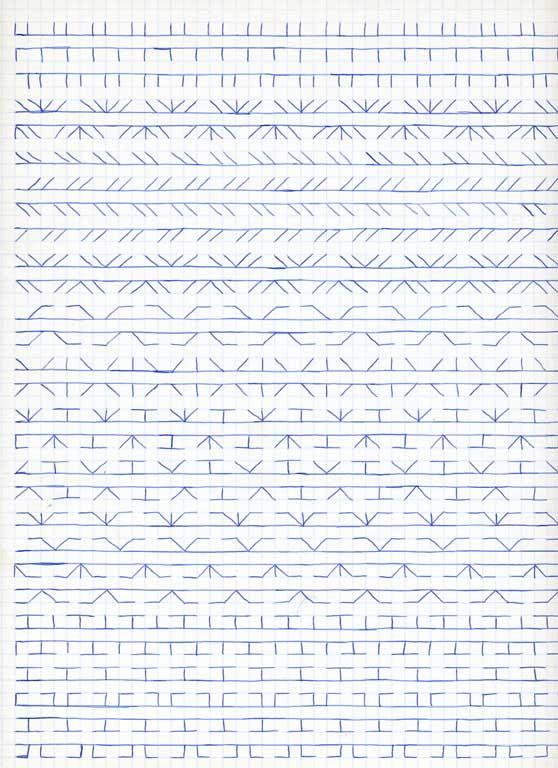 Claude Closky, 'Untitled (1,500 friezes), 21', 1992, blue ballpoint pen on grid paper, 30 x 24 cm.