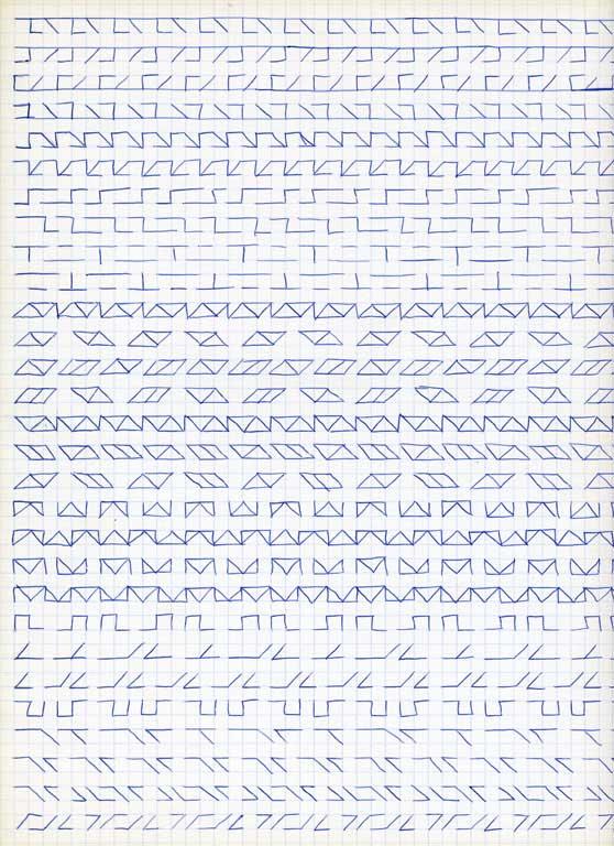 Claude Closky, 'Untitled (1,500 friezes), 22', 1992, blue ballpoint pen on grid paper, 30 x 24 cm.