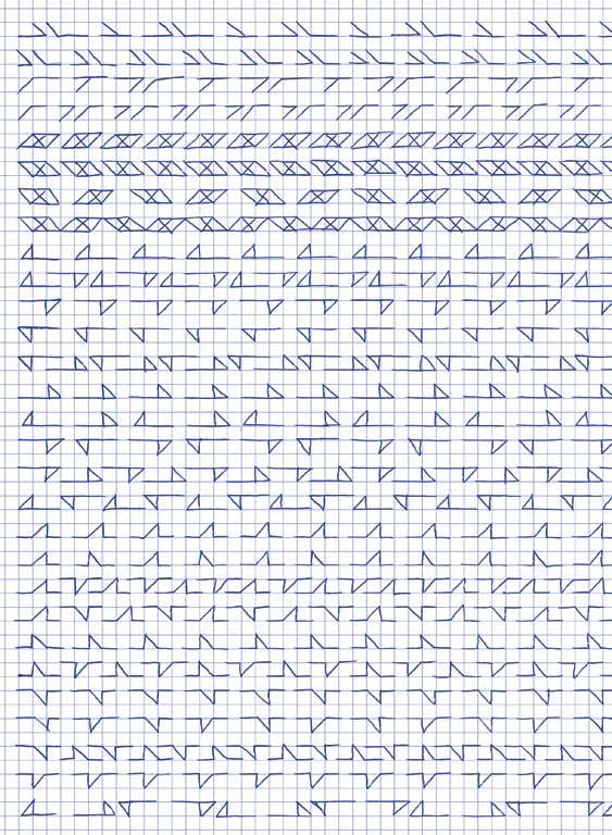 Claude Closky, 'Untitled (1,500 friezes), 23', 1992, blue ballpoint pen on grid paper, 30 x 24 cm.