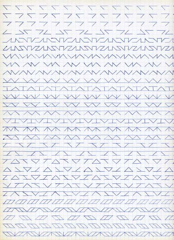 Claude Closky, 'Untitled (1,500 friezes), 25', 1992, blue ballpoint pen on grid paper, 30 x 24 cm.