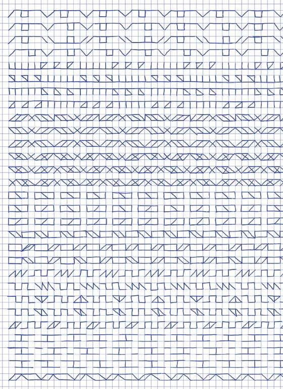 Claude Closky, 'Untitled (1,500 friezes), 27', 1992, blue ballpoint pen on grid paper, 30 x 24 cm.