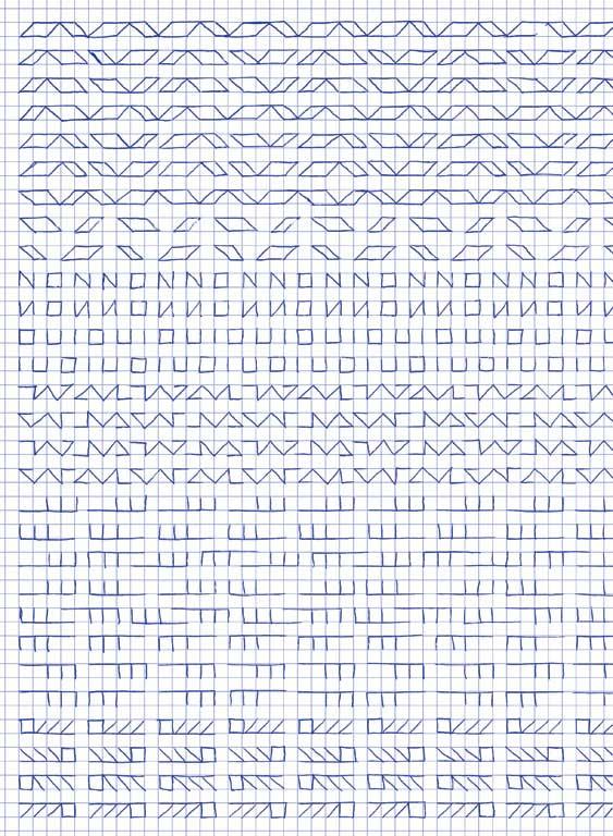 Claude Closky, 'Untitled (1,500 friezes), 28 (non oui)', 1992, blue ballpoint pen on grid paper, 30 x 24 cm.