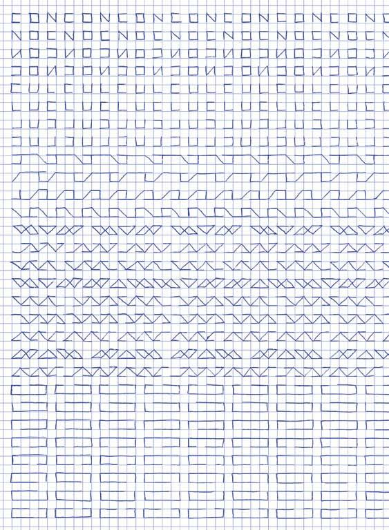 Claude Closky, 'Untitled (1,500 friezes), 34 (con cul)', 1992, blue ballpoint pen on grid paper, 30 x 24 cm.