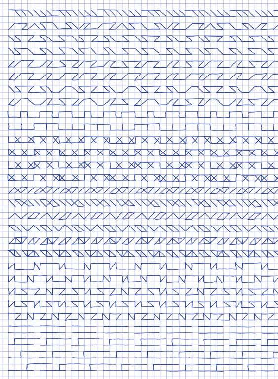 Claude Closky, 'Untitled (1,500 friezes), 36', 1992, blue ballpoint pen on grid paper, 30 x 24 cm.