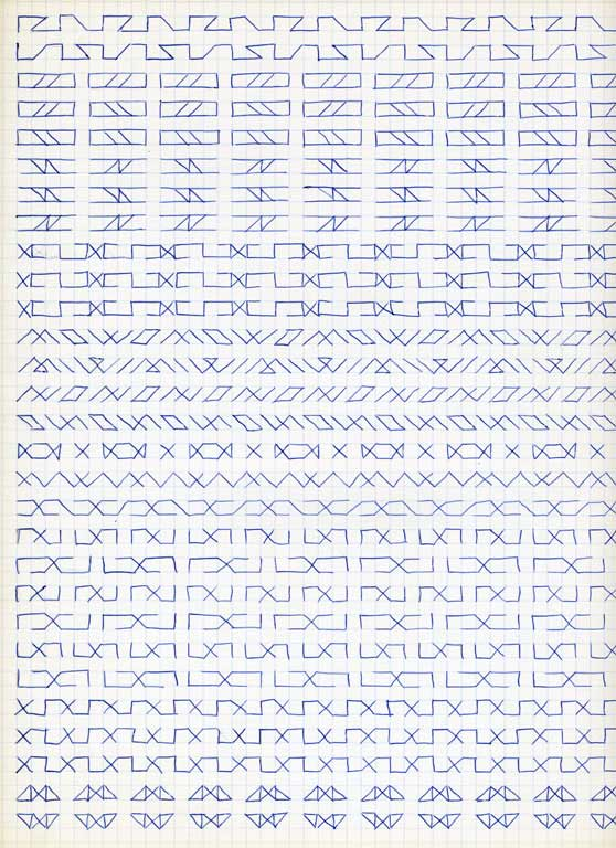 Claude Closky, 'Untitled (1,500 friezes), 38', 1992, blue ballpoint pen on grid paper, 30 x 24 cm.
