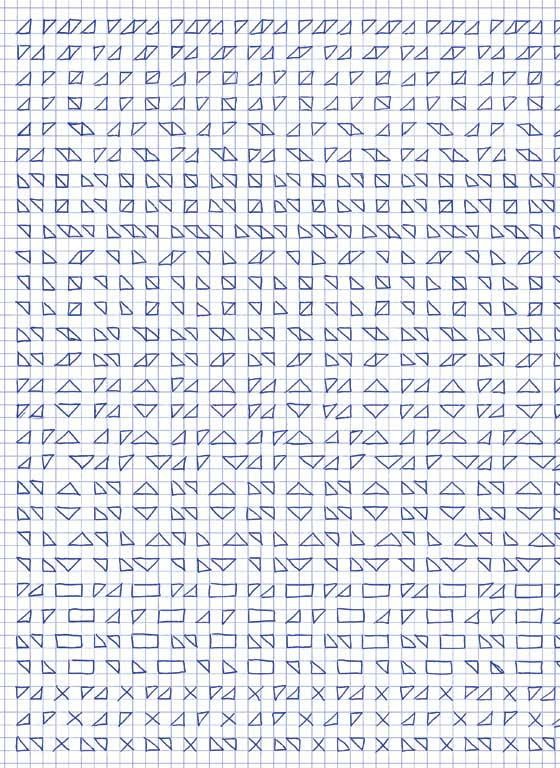 Claude Closky, 'Untitled (1,500 friezes), 41', 1992, blue ballpoint pen on grid paper, 30 x 24 cm.