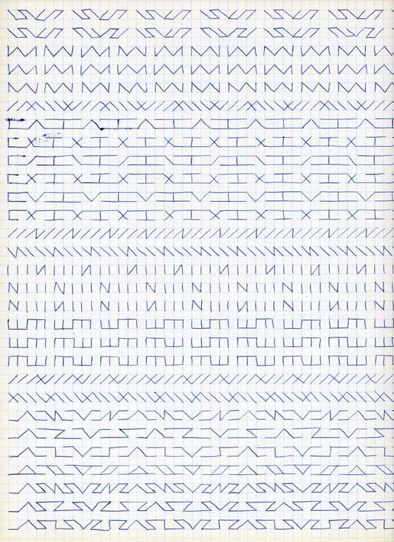 Claude Closky, 'Untitled (1,500 friezes), 43', 1992, blue ballpoint pen on grid paper, 30 x 24 cm.