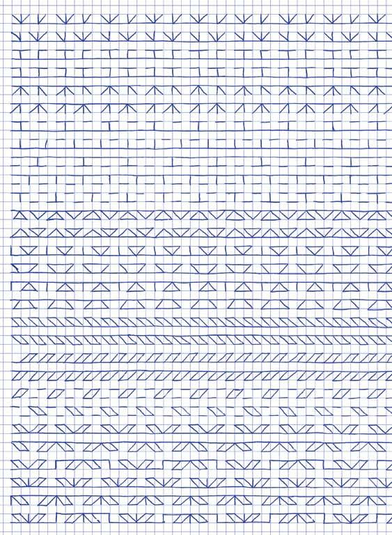 Claude Closky, 'Untitled (1,500 friezes), 45', 1992, blue ballpoint pen on grid paper, 30 x 24 cm.