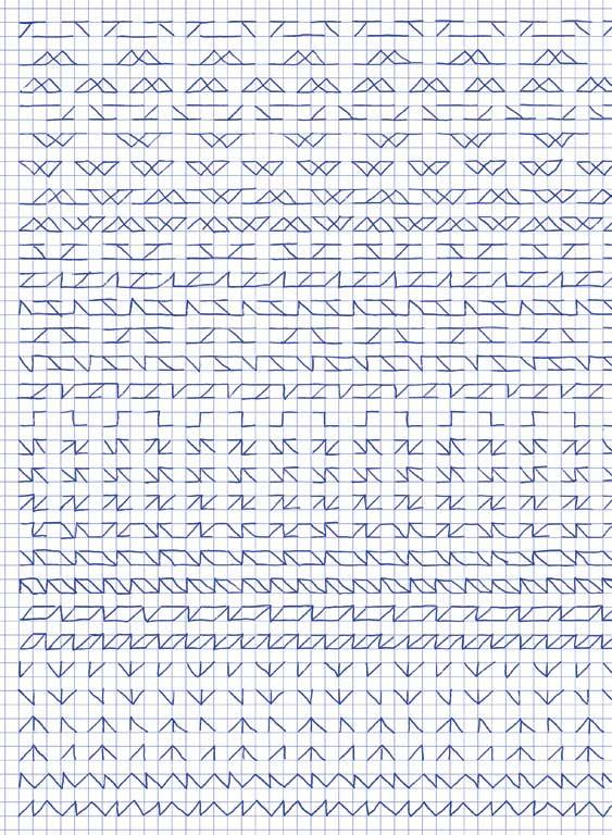 Claude Closky, 'Untitled (1,500 friezes), 47', 1992, blue ballpoint pen on grid paper, 30 x 24 cm.
