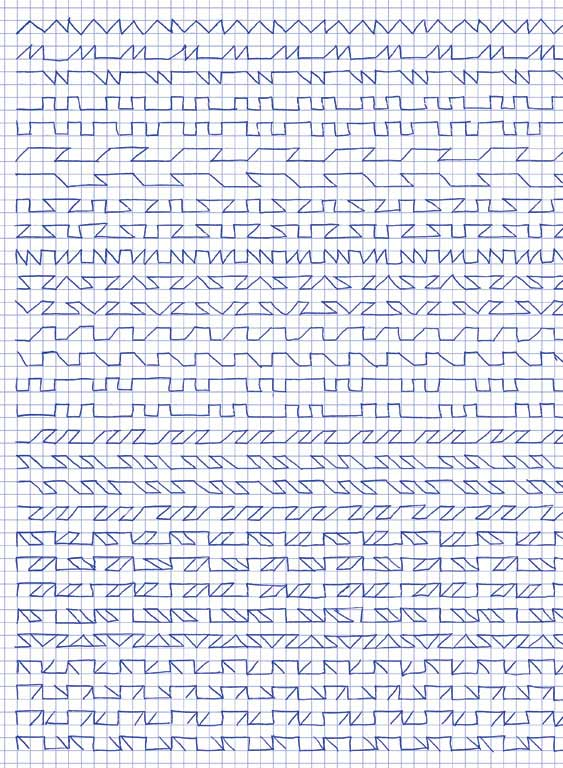 Claude Closky, 'Untitled (1,500 friezes), 48', 1992, blue ballpoint pen on grid paper, 30 x 24 cm.