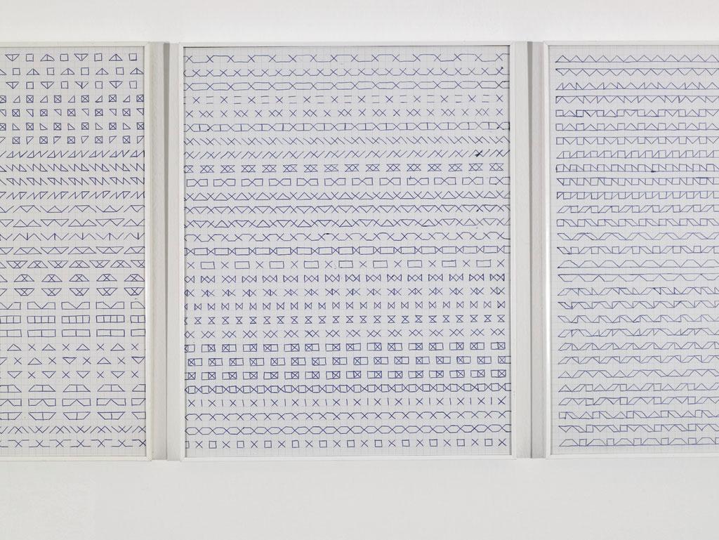 Claude Closky, 'Untitled (1,500 friezes),' 1992, blue ballpoint pen on grid paper, 30 x 24 cm.