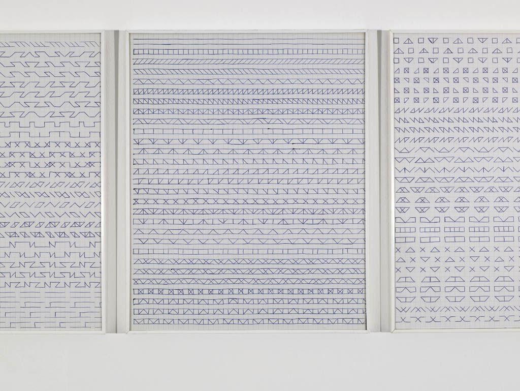 Claude Closky, 'Untitled (1, 500 friezes)', 1992, blue ballpoint pen on grid paper, 50 drawings, 30 x 24 cm each.