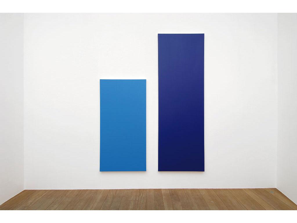 Claude Closky, 'Untitled (Blue 300)', 2006, acrylic on canvas, diptych, 300x225 cm (200x100 & 300x100).