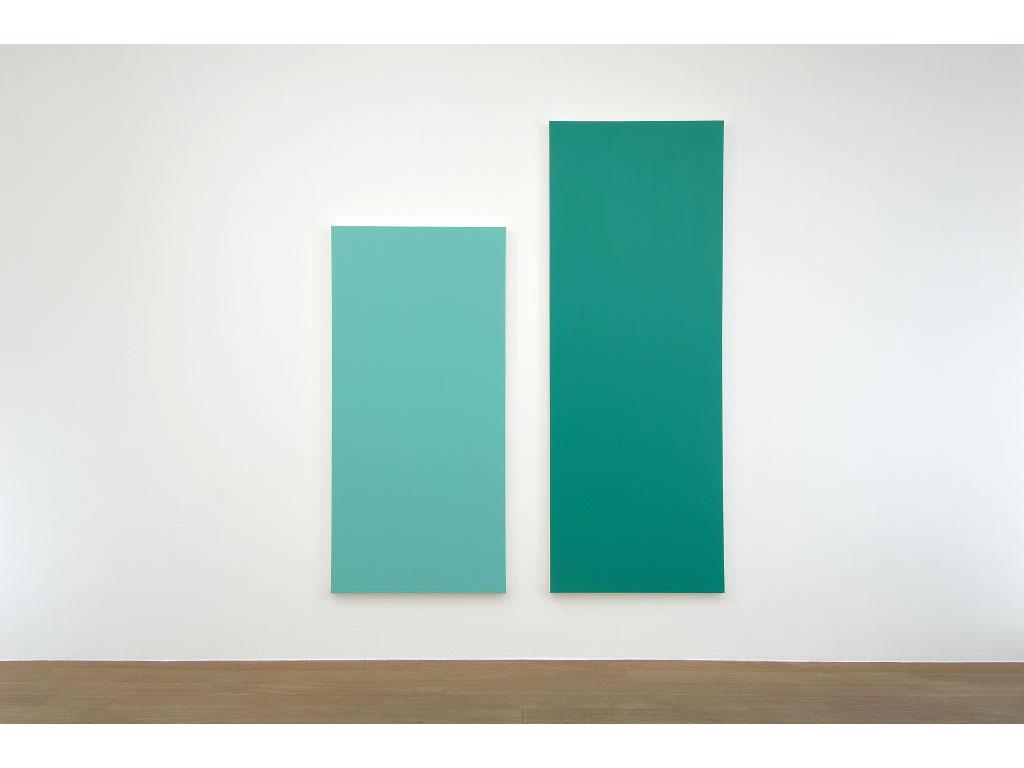Claude Closky, 'Untitled (Green 270)', 2006, acrylic on canvas, diptych, 270x225 cm (210x100 & 270x100).