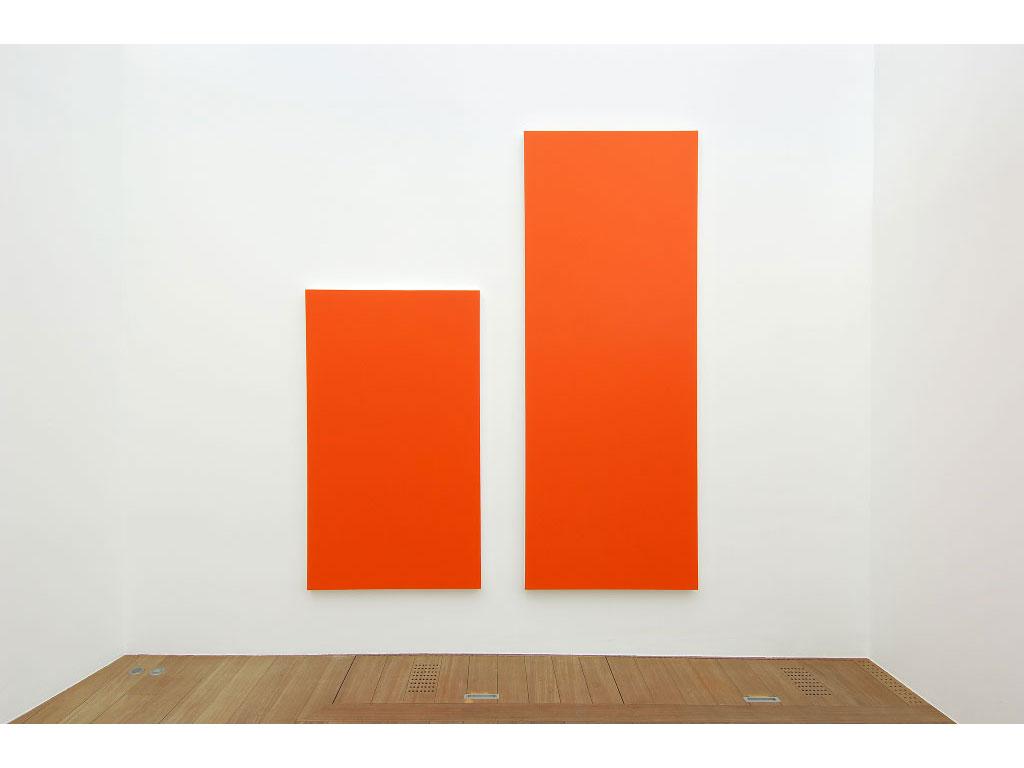 Claude Closky, 'Untitled (Orange 260)', 2006, acrylic on canvas, diptych, 260x225 cm (170x100 & 260x100).