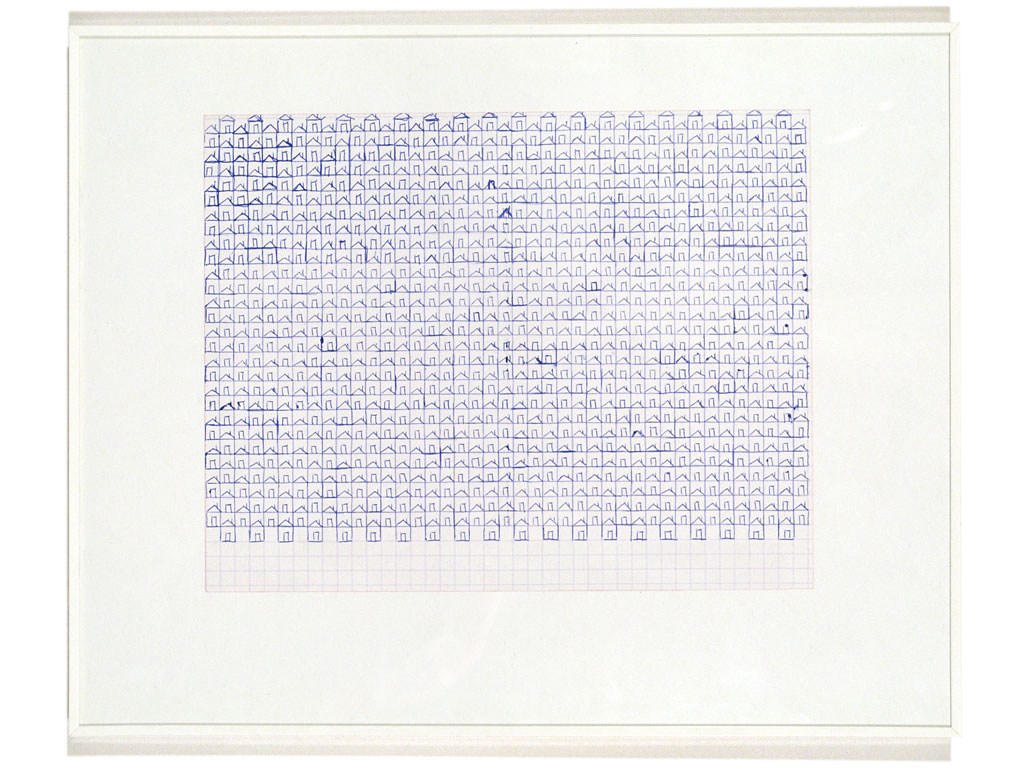 Claude Closky, 'Untitled (small houses)', 1991, blue ballpoint pen on grid paper, 16 x 20 cm.