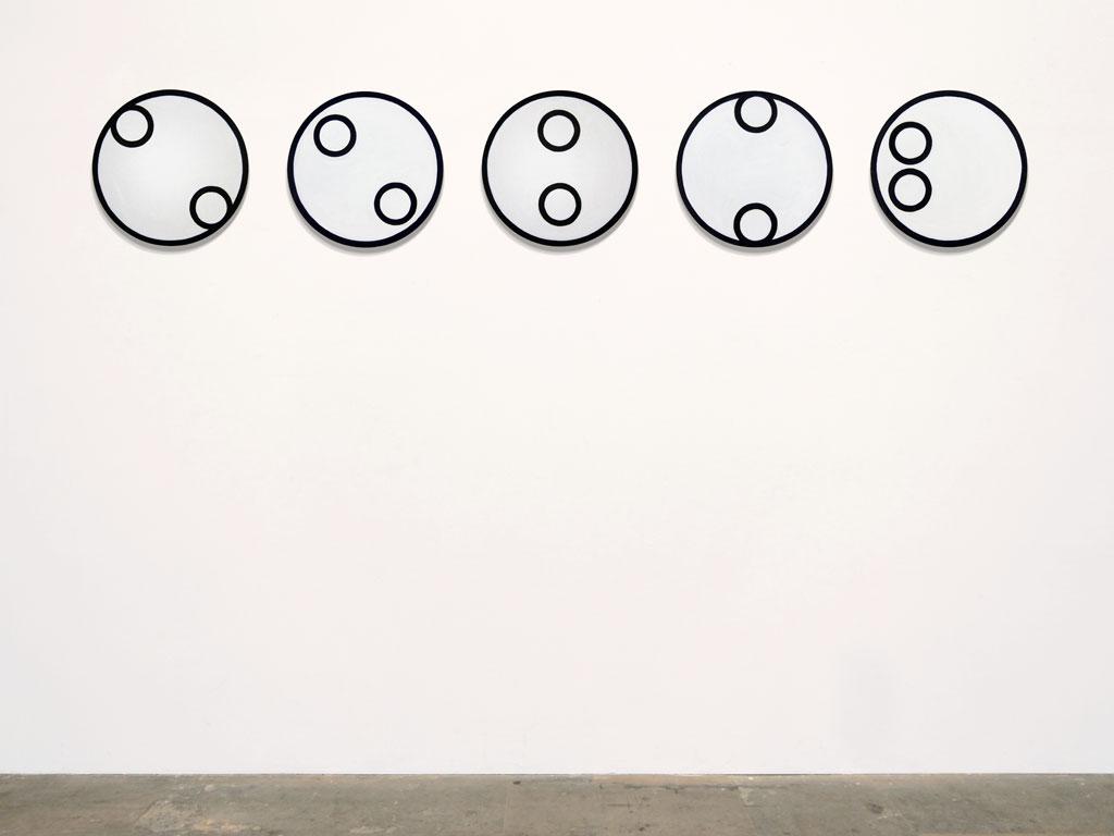 Claude Closky, 'Untitled (intellectual deficient)', 2011, acrylic on canvas, 5 x ø 40 cm.
