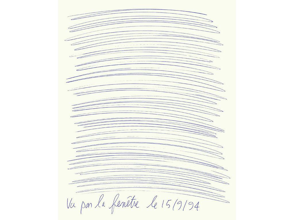 Claude Closky, 'Vu par la fenêtre le 15/9/94 [Seen through the window on 9/15/94]', 1994, blue ballpoint pen on paper, 30 x 24 cm.