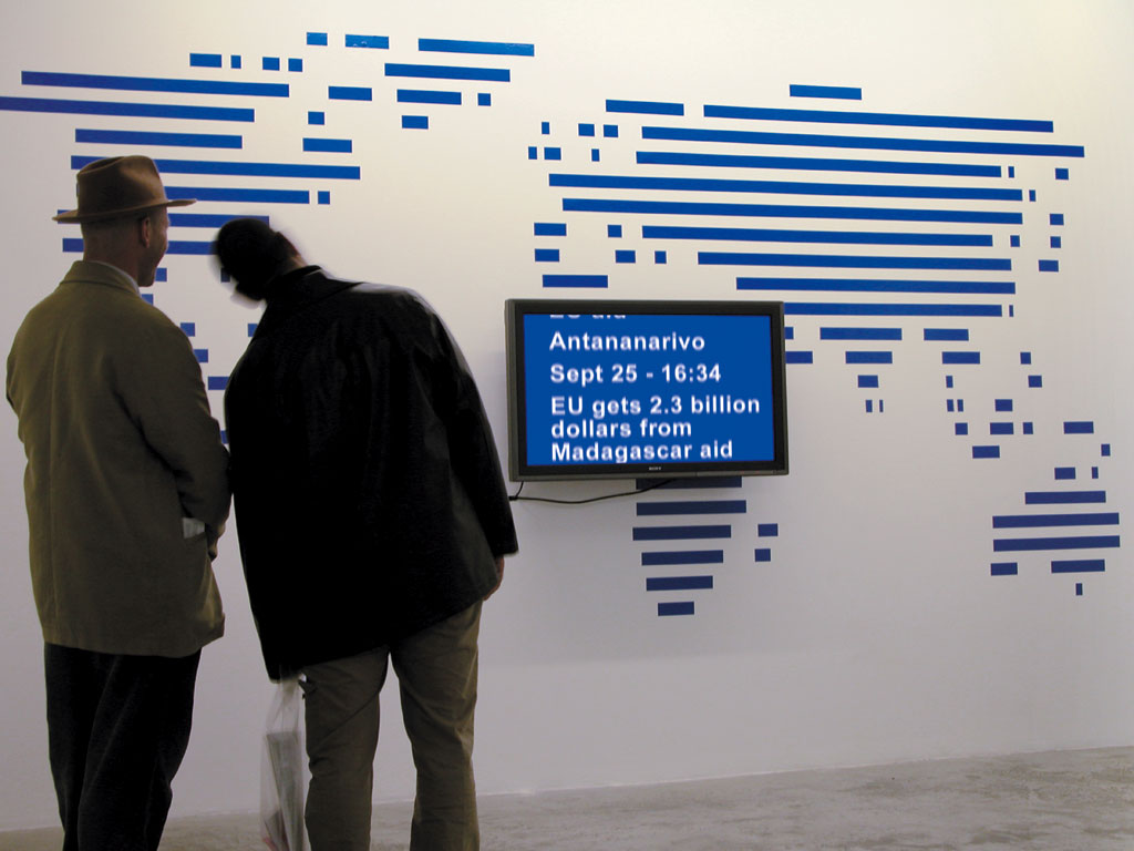 Claude Closky, 'World News,' 2002, 16/9 flat monitor, blue adhesive tape, computer, silent, dimensions variable.