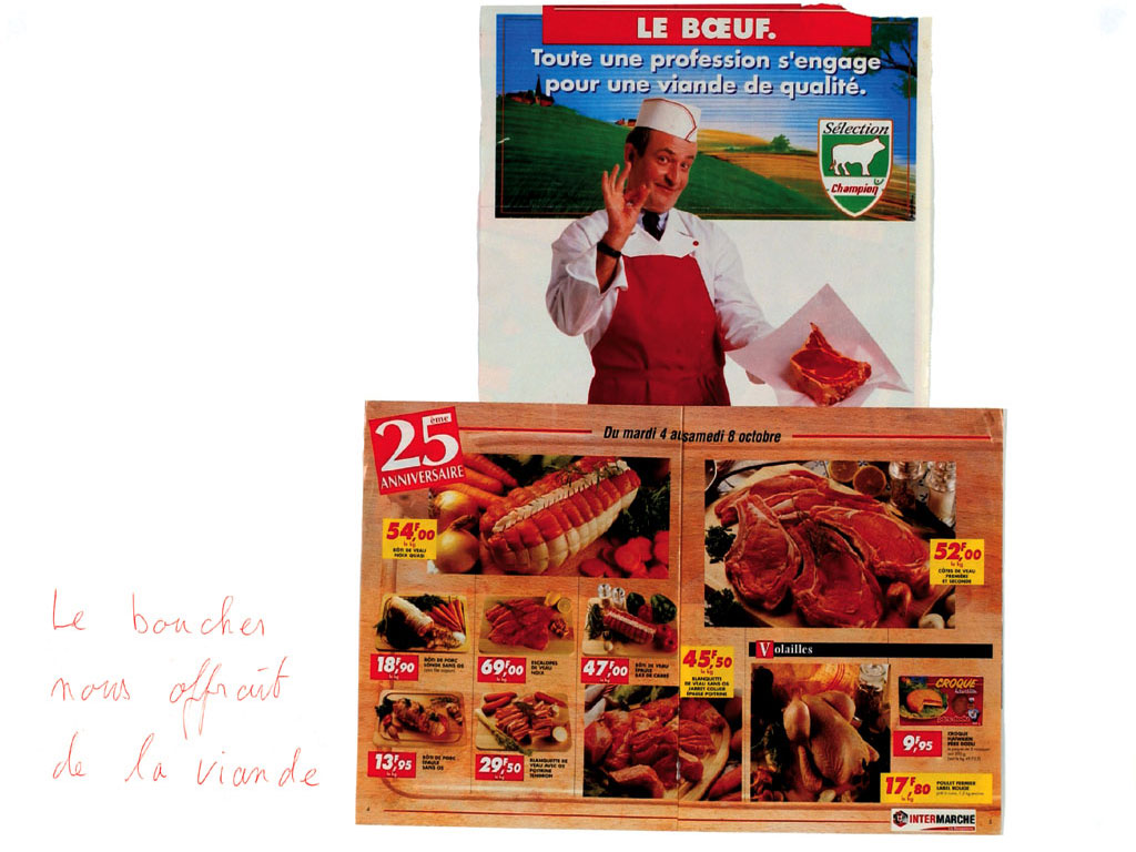 Claude Closky, Le boucher nous offrait de la viande [The butcher gave us meat], 1998