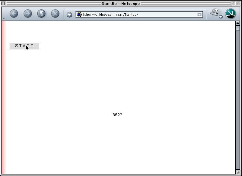 Claude Closky, 'StartUp', 2002, web site, Javascript (http://worldnews.online.fr/StartUp).